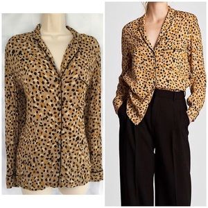 Zara Basic Leopard Print Collared Blouse Sz L UEC
